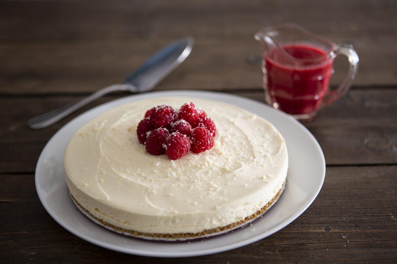 Gluten Free White Chocolate & Raspberry Cheesecake